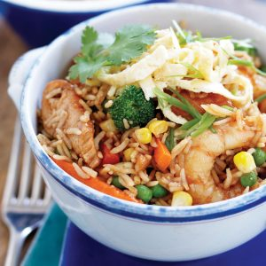 Chicken and prawn fried rice