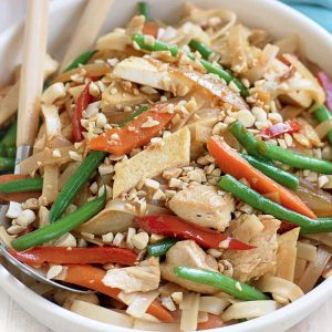Chicken and tofu noodle stir-fry