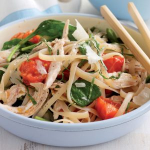 Chicken and tomato fettuccine