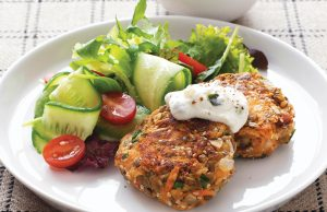 Chicken and vege falafels with minty yoghurt dressing