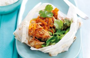 Chicken and vegetable parcels with plum sauce