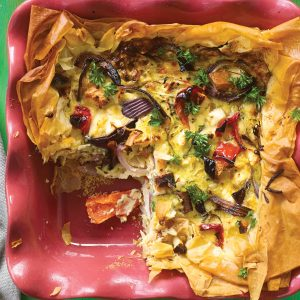 Chicken and vegetable quiche tart