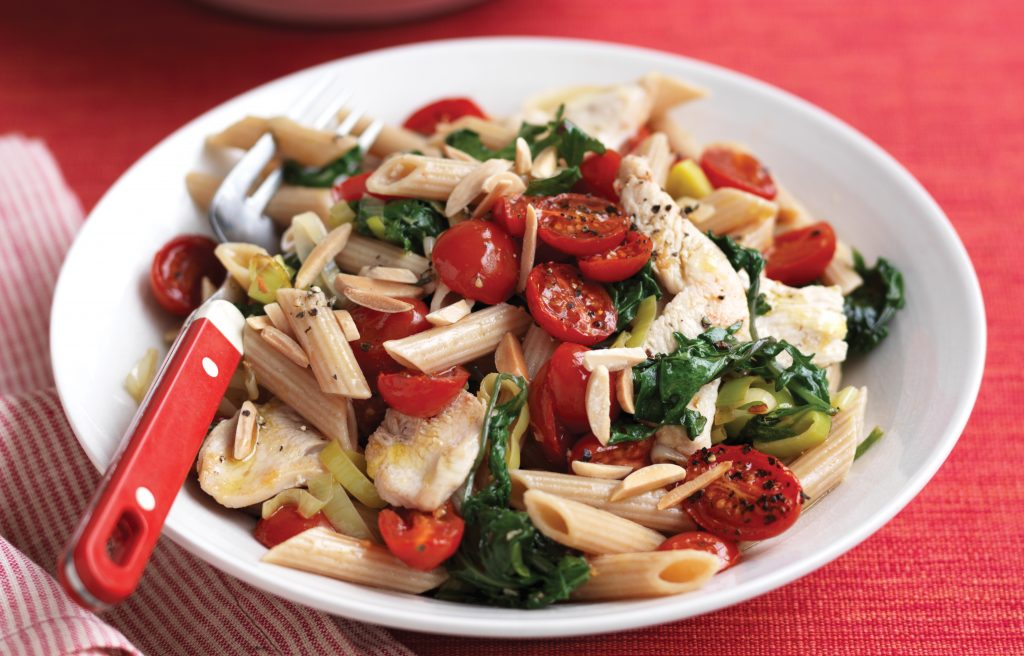 Chicken, baby kale and roast tomato wholemeal pasta
