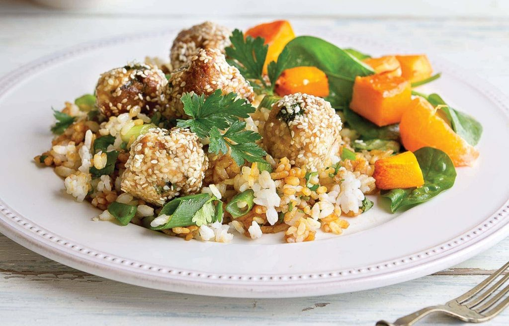 Chicken meatballs with miso rice