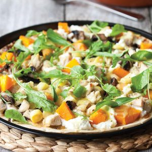 Chicken, pumpkin and rocket pizza