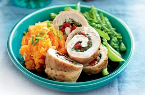 Chicken rolls with sun-dried tomatoes