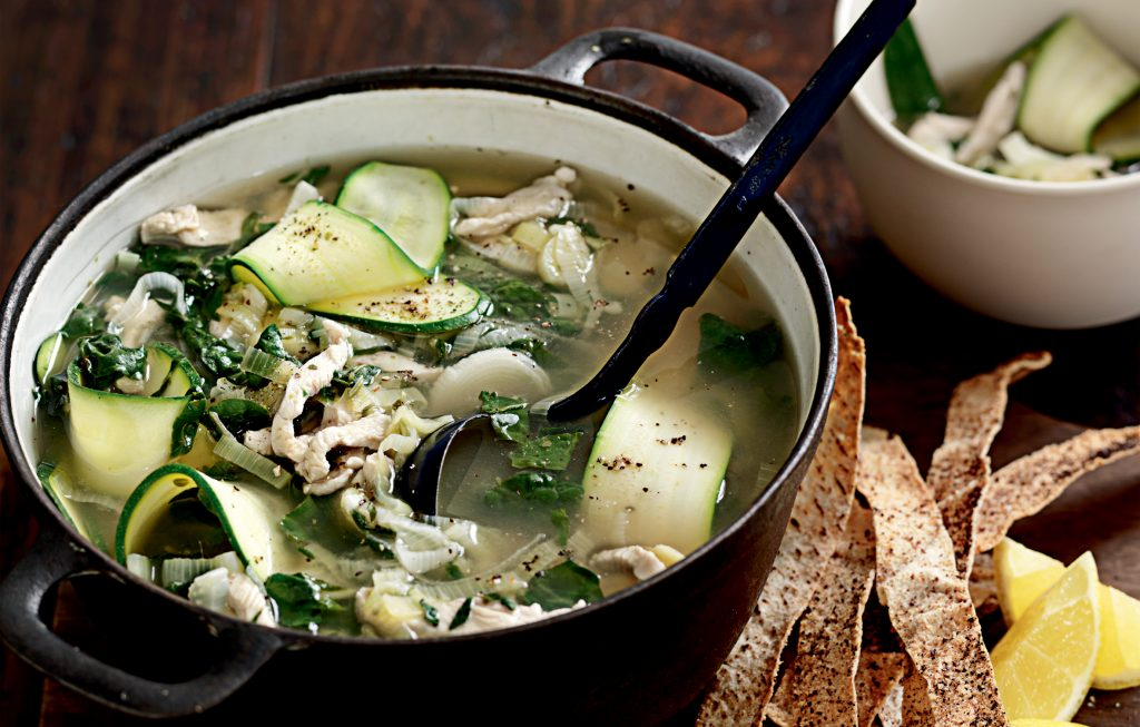 Chicken, silver beet and lemon soup with sumac toast ribbons