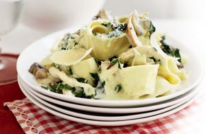 Chicken, silver beet and mixed mushroom pappardelle