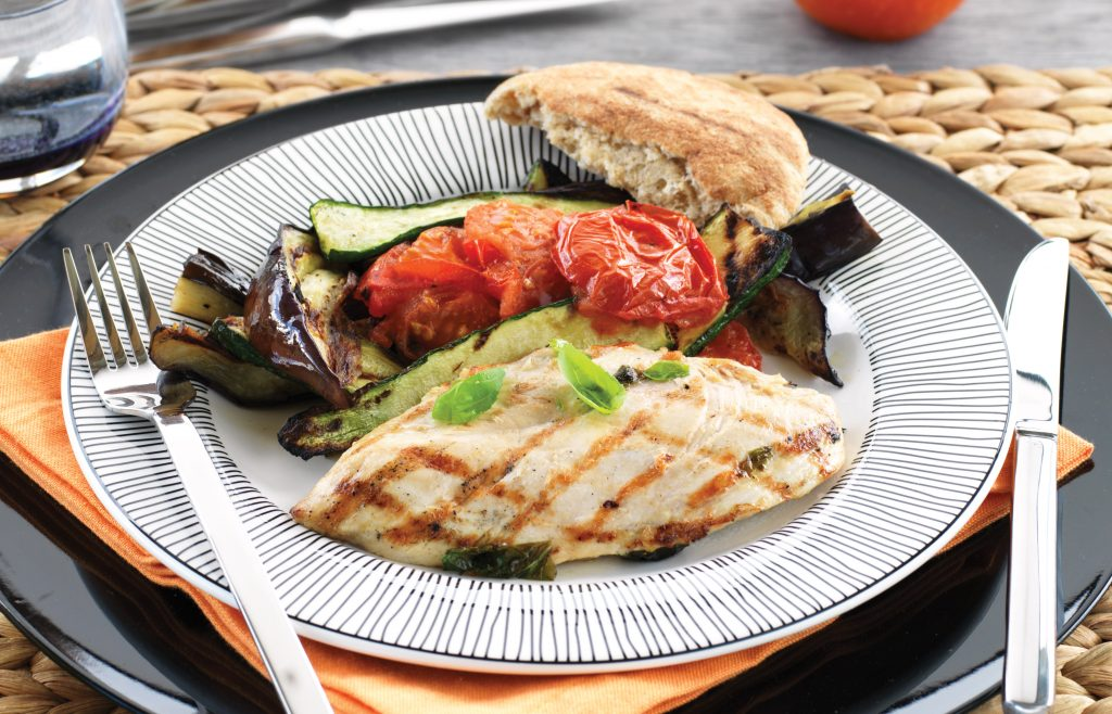 Chicken steaks with eggplant, tomato and courgette
