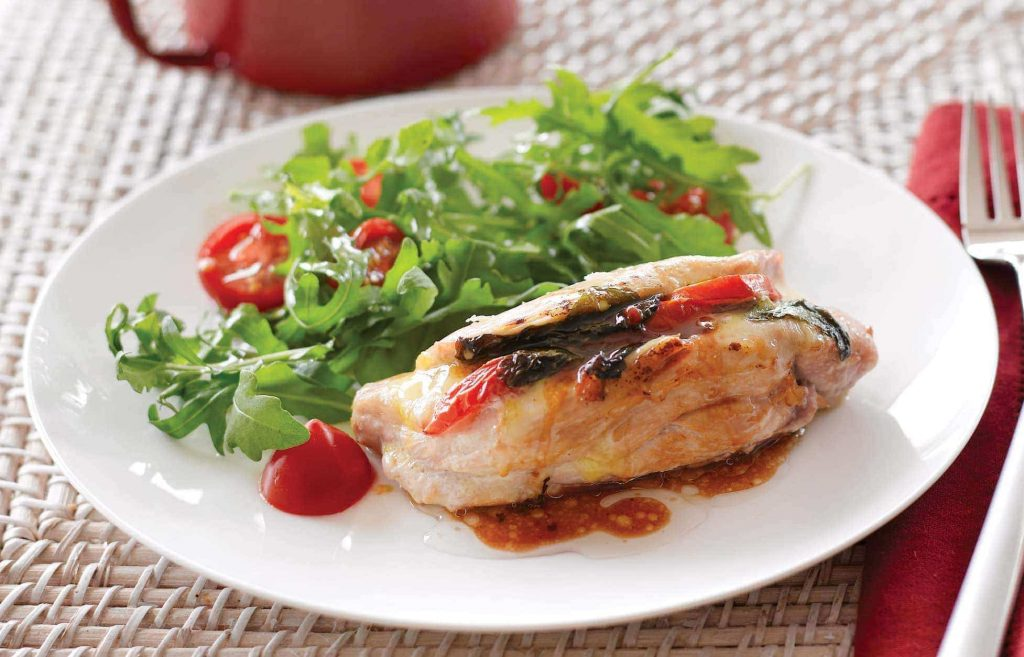 Chicken stuffed with mozzarella, basil and tomatoes