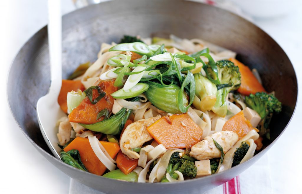 Chicken, tofu and rice noodle stir-fry