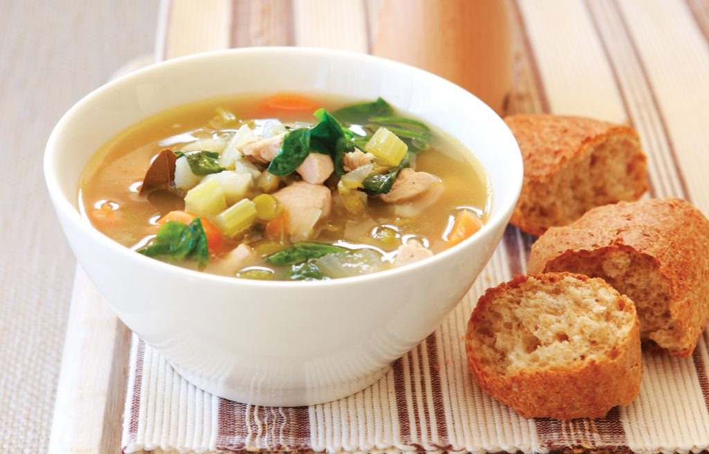 Chicken, vegetable and spinach broth