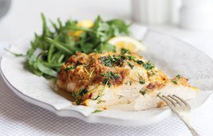 Chicken with fruity chickpea topping
