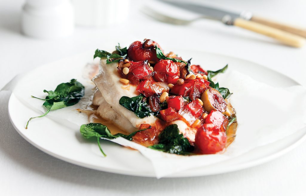 Chicken with tomato and olive pesto