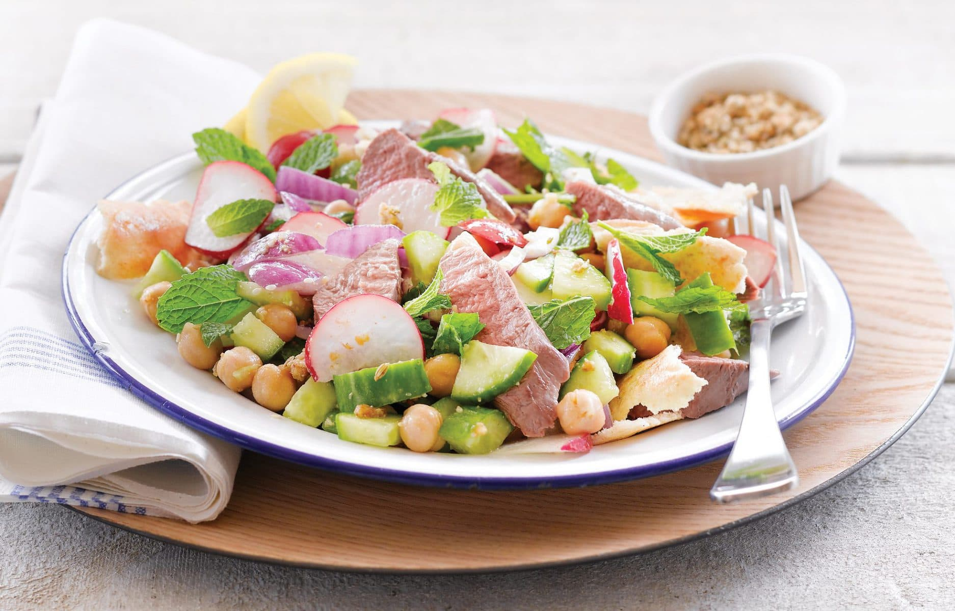 Chickpea and lamb fattoush salad