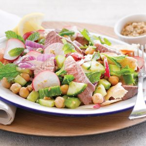 Chickpea and lamb fattoush salad