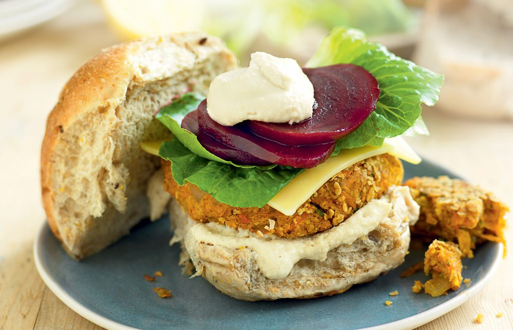 Chickpea, vege and coriander burgers