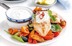 Chilli chicken with mint yoghurt and roasted vegetables