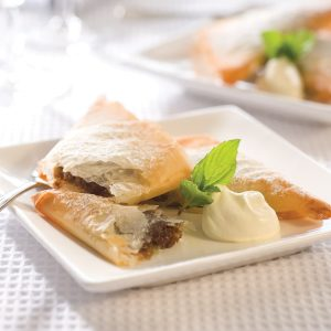 Christmas mincemeat and filo triangles