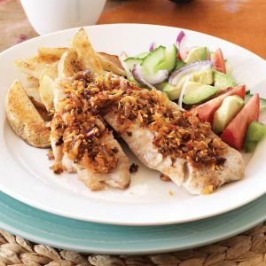 Coconut crust fish and fried potatoes