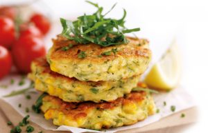 Corn and courgette fritters