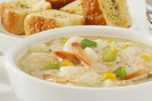Corn chowder with garlic prawns