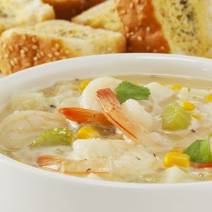 Corn chowder with garlic prawns