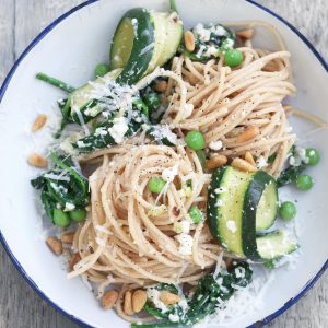 Courgette and pea pasta with ricotta cheese