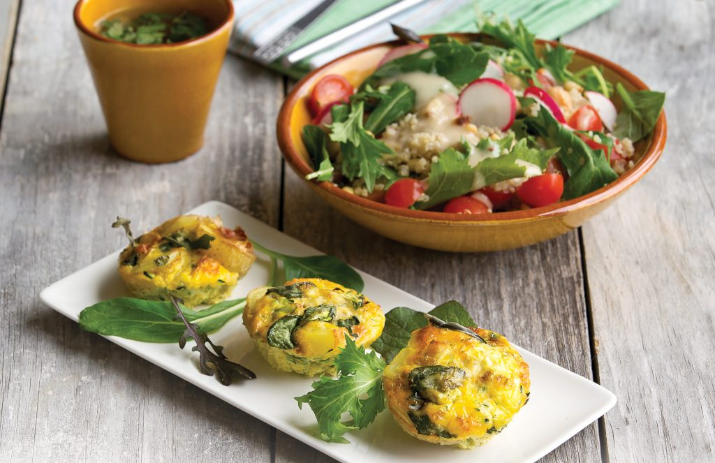 Courgette and sage frittatas with quinoa radish salad
