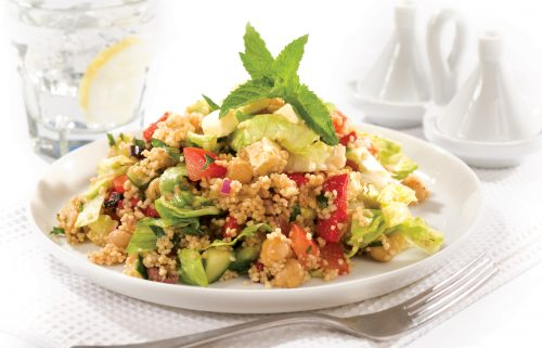 Couscous and chickpea salad with orange-balsamic dressing