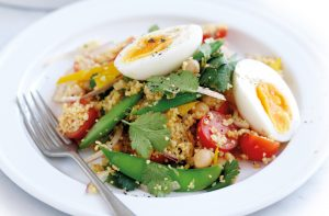 Couscous, vegetable and egg salad