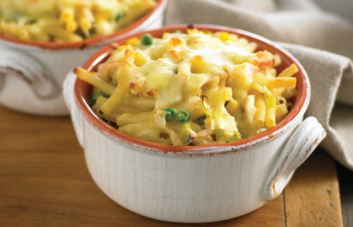 Creamy chicken and leek pasta bake for one