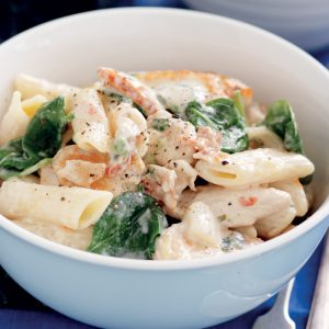 Creamy chicken and sun-dried tomato penne