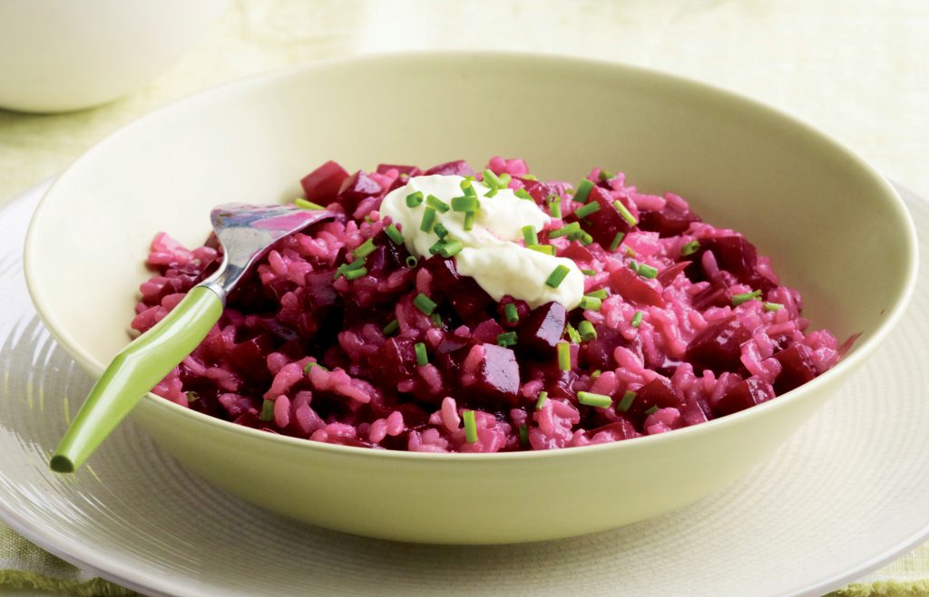 Creamy roasted beetroot and chive risotto