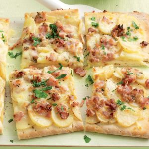 Crispy bacon and rosemary potato pizza