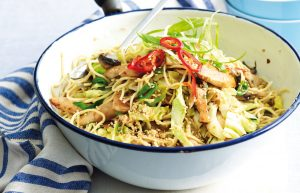 Crunchy sesame chicken and noodles