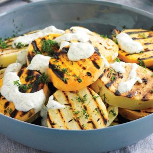 Cumin potatoes with dill sour cream