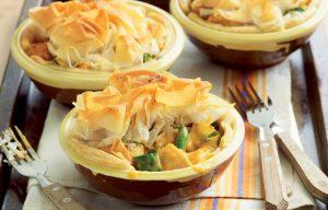 Curried chicken pies