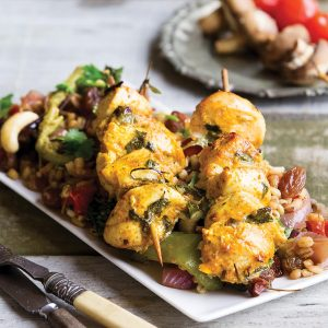 Curry chicken kebabs