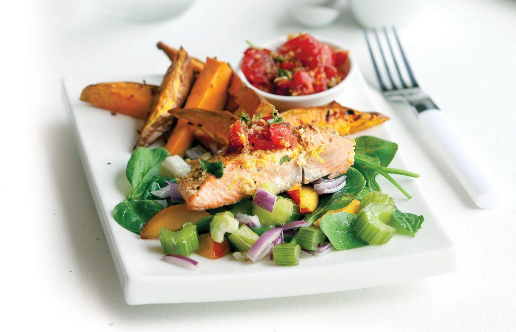 Chermoula-topped salmon with kumara fries and salad