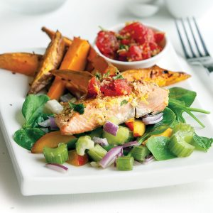 Chermoula-topped salmon with kumara fries and salad