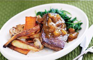 Devilled steak with roasted veges