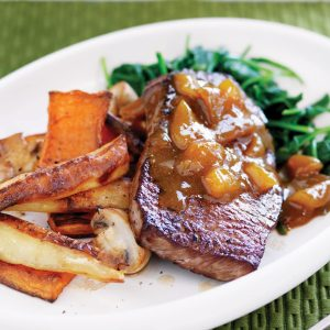 Devilled steak with roasted veges