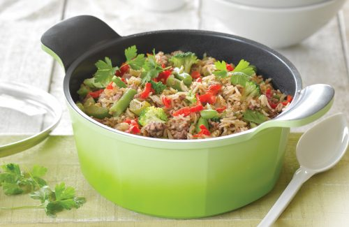 'Dirty rice' with pork and veges