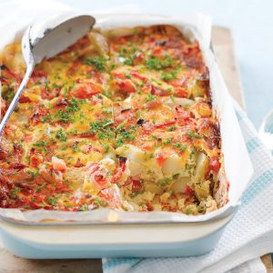 Easy pea and potato frittata