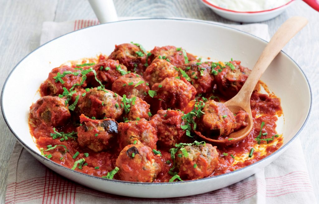 Eggplant chicken meatballs with tzatziki