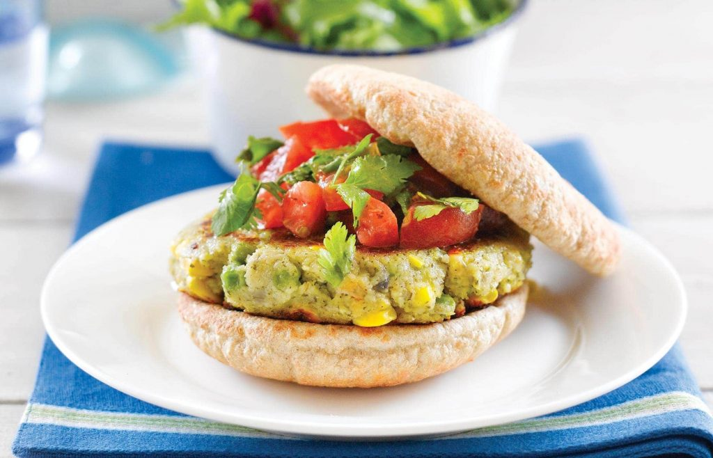 Falafel burger with tomato salsa