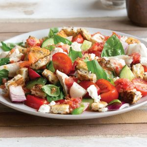 Fish, tomato and feta panzanella