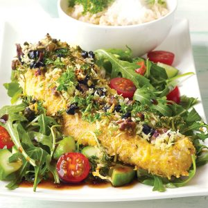 Fish with lemon, herb, olive and parmesan crumb