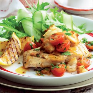 Fish with tomato and garlic crumbs